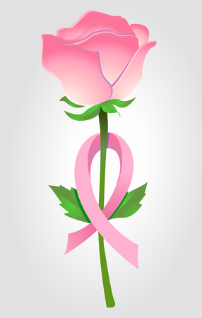 Breast Cancer Awareness pink ribbon in flower