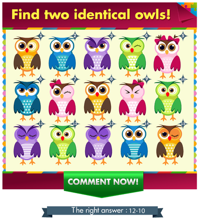 Visual Game for children. Task: find two identical owls! Answer: 10 and 12.