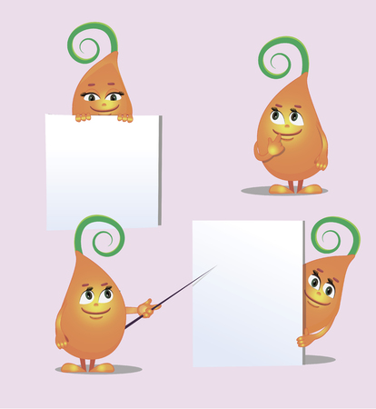 angles: cute monster- sprout, from different angles for childrens illustration