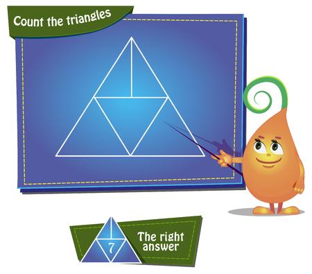 Visueel spel voor kinderen. Taak: Tel de driehoeken Stock Illustratie