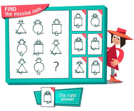 Visueel spel voor kinderen. Taak: zoek het ontbrekende item Stockfoto - 45810246