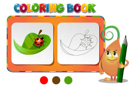 tot: Coloring book ladybug on a leaf - vector illustration.