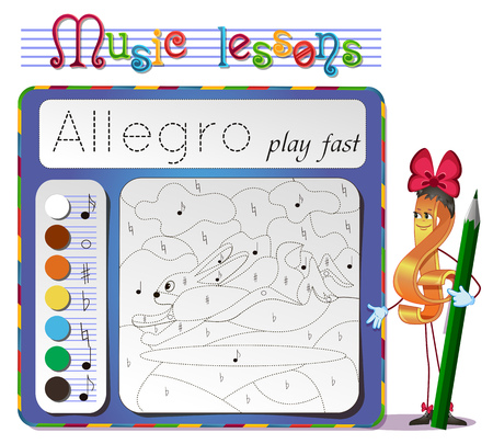 Coloring book of music. Music lessons. choose the color of the note. Learning tempo muzyke- Allegro Illustration