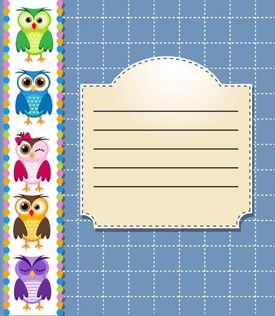 holiday card: Notebook for school and owls image Illustration
