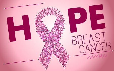 breast beauty: Breast Cancer Awareness pink ribbon of thread
