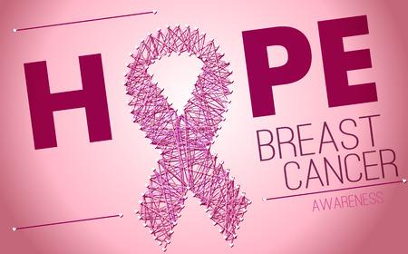 cancer de mama: Conciencia del c�ncer de pecho, cinta del rosa de la rosca Vectores