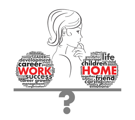 work life balance: choice of a woman in a job or career of letters Illustration