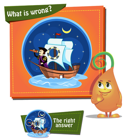 christopher columbus: Visual Game for children. Task: what is wrong