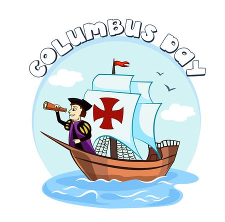 Columbus op het schip voor het ontwerp