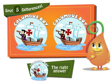 christopher columbus: Visual Game for children. Task: find 5 differences