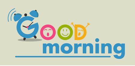 good day: inscription good morning flat style