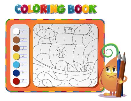 choisir la couleur de la figure. livre sur navire Coloriage