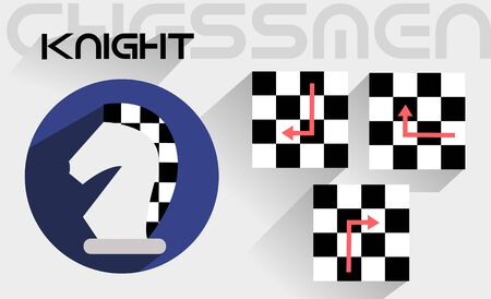 moves: The moves of the knight in the flat style