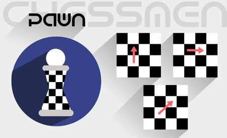 moves: The moves of the chess pawn in the flat style