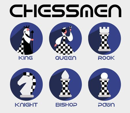 chessmen in a flat style Illustration