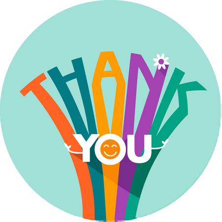 thank you card: Card  congratulation - thank you in a flat style