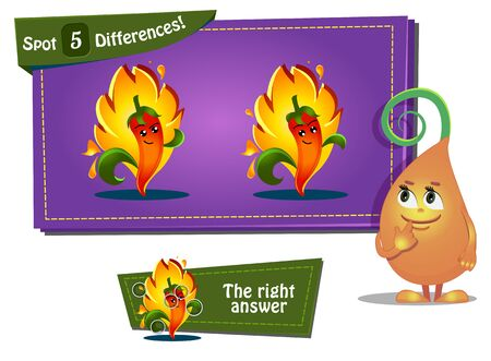 find: Visual Game for children. Task: find 3 differences Illustration