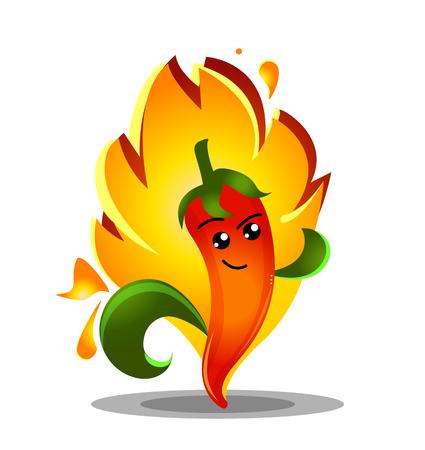 Cartoon hot chili pepper in fire
