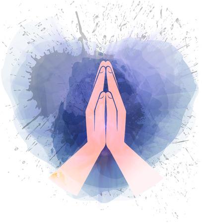 Pictogram handen in gebed waterverf