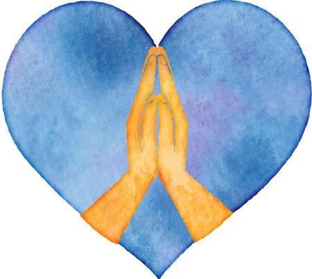 Icoon handen in gebed in de blauwe hart Stockfoto - 45809618