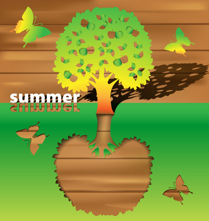 maturity: abstract background in the manner of tree by summer Illustration