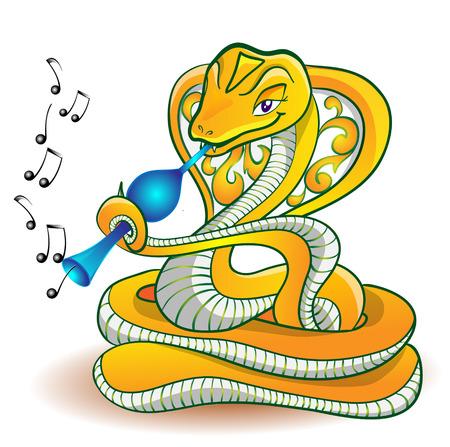 vigilance: Snake playing on fife on white background