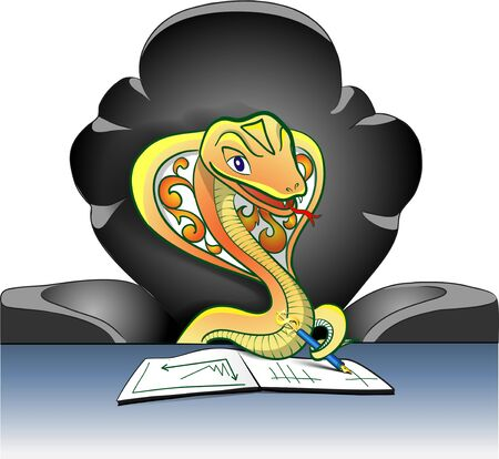 negotiating: a cobra negotiating in a green arm-chair