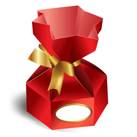 sweetmeats: regalo en la tapa de color rojo con cinta de oro