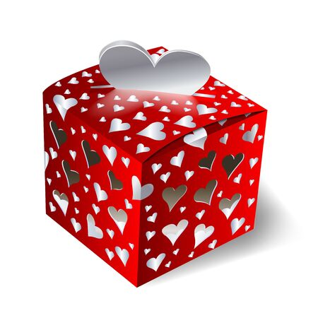 festive, red  box with hearts