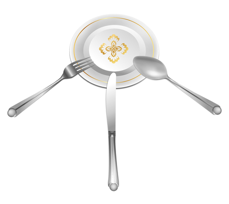 fas: empty plate with cross and tablewears Illustration