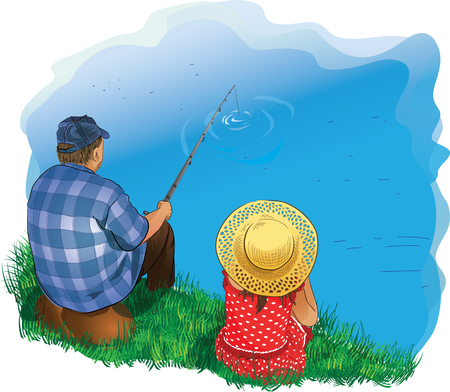 idyll: illustrations family fishing on the shore