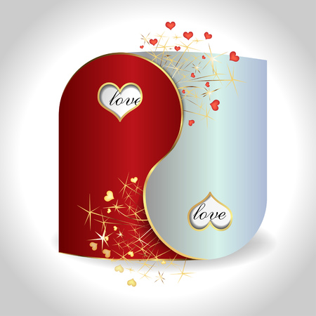 intrigue: postcard Yin and Yang with hearts