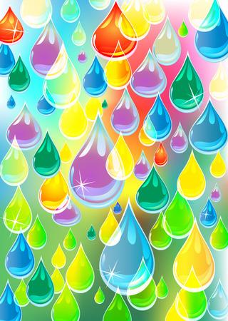 varicolored: transparent, varicolored drops of rain