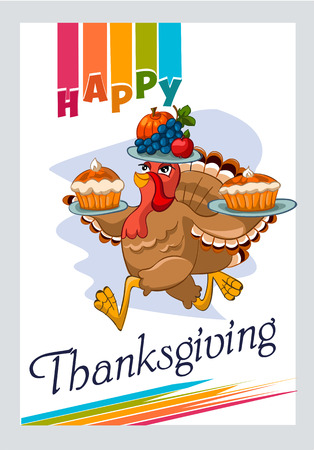 happy family nature: illustration of happy Thanksgiving turkey with custom designed lettering theme