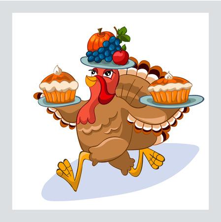 Vector illustratie van happy Thanksgiving kalkoen met speciaal ontworpen letters thema Stock Illustratie