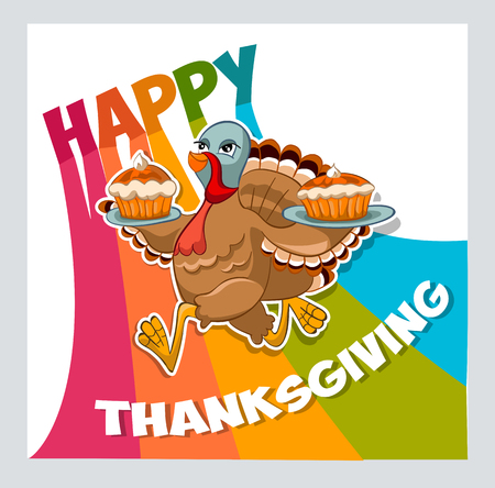 happy family nature: Vector illustration of happy Thanksgiving turkey with custom designed lettering theme