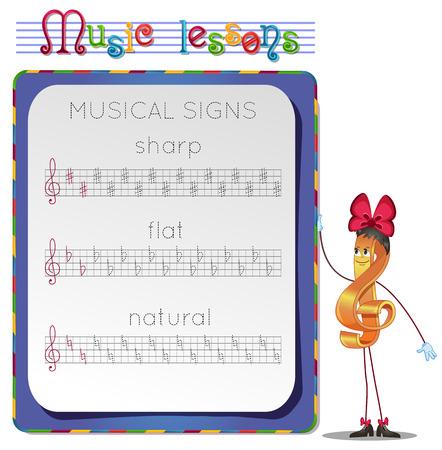lessons: Music lessons, exercises for children. Illustration