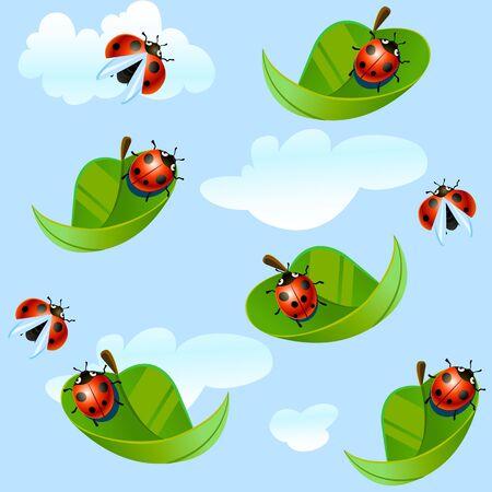 ladybug on leaf: ladybug fly on a leaf, vector art illustration