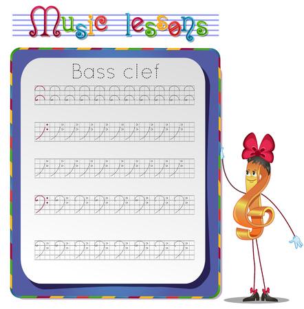 bass clef: Las clases de música, ejercicios para los niños. desarrollo de habilidades para la escritura y el dibujo. Escritura a mano de trabajo de práctica. Dibuja una clave de fa. Vectores