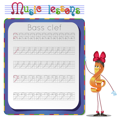 bass clef: Music lessons, exercises for children. development of skills for writing and drawing. Handwriting Practice Worksheets. Draw a bass clef. Illustration