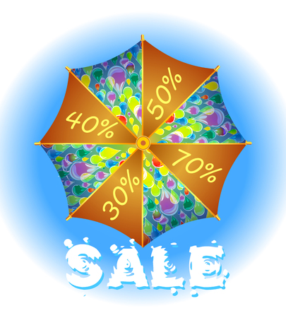interest: Seasonal sale in the form of an umbrella with interest Illustration