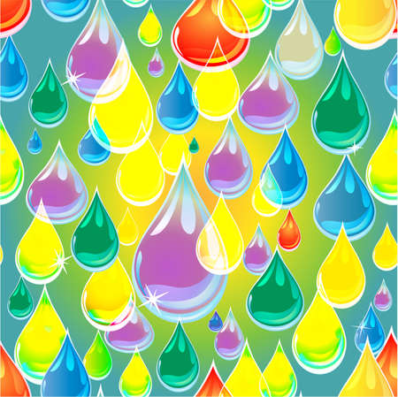 varicolored: transparent, varicolored drops of rain. Seamless background Illustration