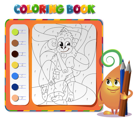 slingshot: choose the color of the figure. Coloring book about monkey Illustration