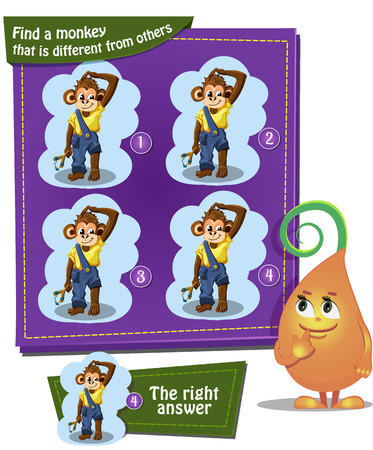 boy friend: Visual Game for children. Task: find a monkey that is different from others