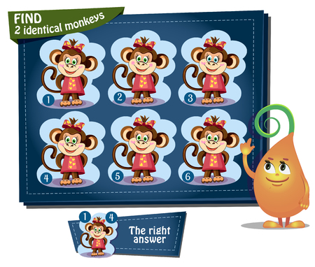Visual Game for children. Task: find 2 identical monkeys 矢量图像