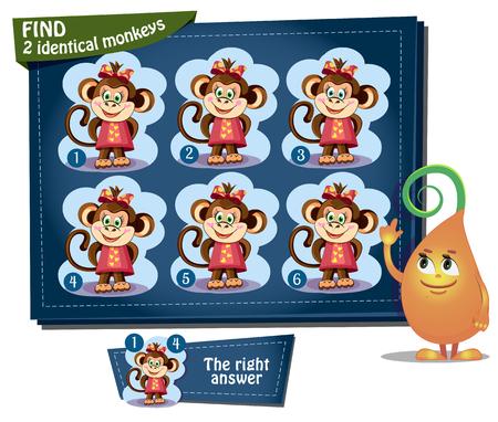 Visual Game for children. Task: find 2 identical monkeys Stock Illustratie