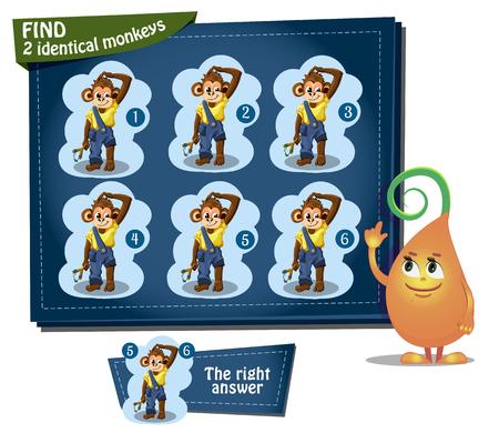 slingshot: Visual Game for children. Task: find 2 identical monkeys Stock Photo
