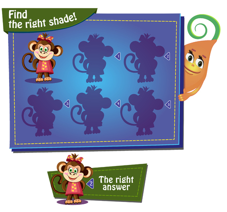 cartoon work: Visual Game for children. Task: find the right shade!