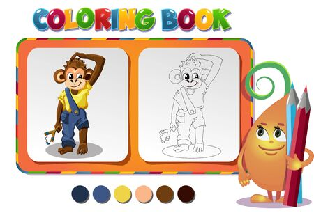 tot: choose the color of the figure. Coloring book about monkey Illustration
