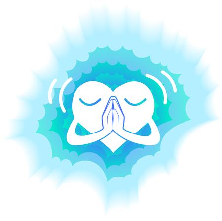 happy heart in prayer radiant blue light Illustration